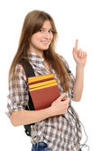 Woman showing on something by a finger — Stock Photo