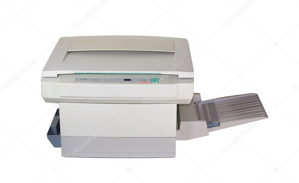 A copy machine which is used to make copies by a business. It is isolated on white. — Stock Photo #4442231