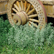 Decorative wagon wheel - Stock Photo