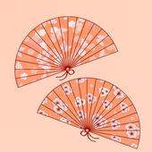 Dos ventiladores tradicionales japoneses — Vector de stock