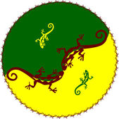Yin y el yan con lagartijas — Vector de stock