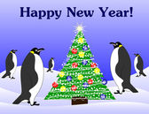 New year penguins and fir tree — Stok Vektör