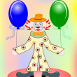 Vector funny clown with two balloons — Stock Vector