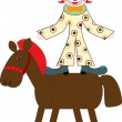 Stock Vector: Funny vector clown on a toy horse