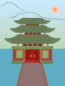 Vector buddhist temple on water — Stock Vector