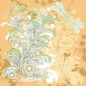 Vector floral grunge hintergrund mit libelle — Stockvektor