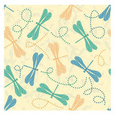 Vector seamless floral background with dragonflies — Stockvector