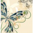 Vector vintage butterflies with floral ornament - Stock Vector