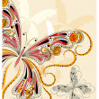 Vector vintage butterflies with floral ornament - Stock vektor