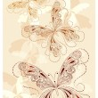 Vector vintage butterflies with floral ornament — Stock Vector