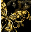 Vector vintage golden butterflies with floral ornament on black — Stock Vector