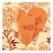 Vector seamless floral background with butterfly and heart — Stock Vector