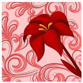 ベクトル赤いユリ — ストックベクタ