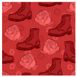 Vector seamless grunge background with boots and roses — Stock Vector