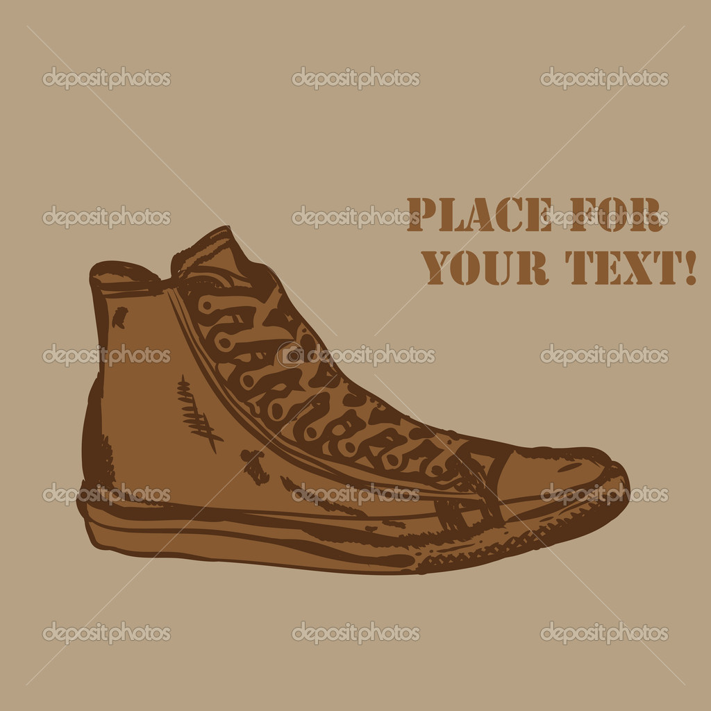 Vector  grunge background with boots and place for your text — Stock Vector #4750038