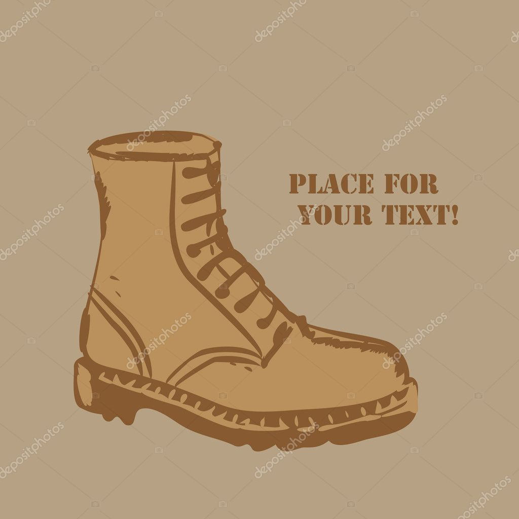 Vector  grunge background with boots and place for your text — Stock Vector #4750039