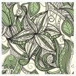 Seamless hand drawn floral pattern in green  — Stock Vector