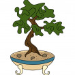 Stock Vector: Japanese style bonsai