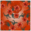 Seamless spring pattern with hibiscus flowers and leaves — Stock Vector