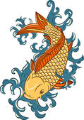 Japanese style koi (carp fish) — Stock Vector