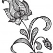Hand drawn floral design element — Vector de stock