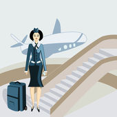 Young stewardess with a suitcase — Stock Vector