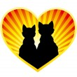 Silhouette of cats in love — Stock Vector