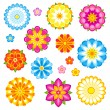 Vector flowers set - Stok Vektör