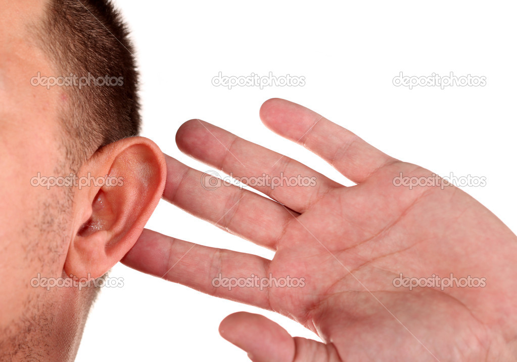 What? Closeup for hand on ear  Stock Photo #4911075