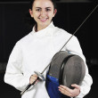 Sword sport athlete portrait at training — Stock Photo