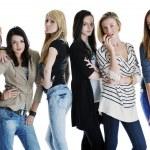 Happy girls group isolated on white background — Stock Photo #5213705