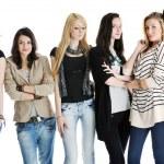 Happy girls group isolated on white background — Stock Photo #5213870