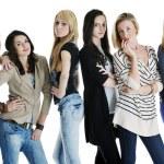 Happy girls group isolated on white background — Stock Photo #5214611