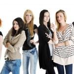 Happy girls group isolated on white background — Stock Photo #5214693