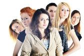 Happy girls group isolated on white background — Stock Photo