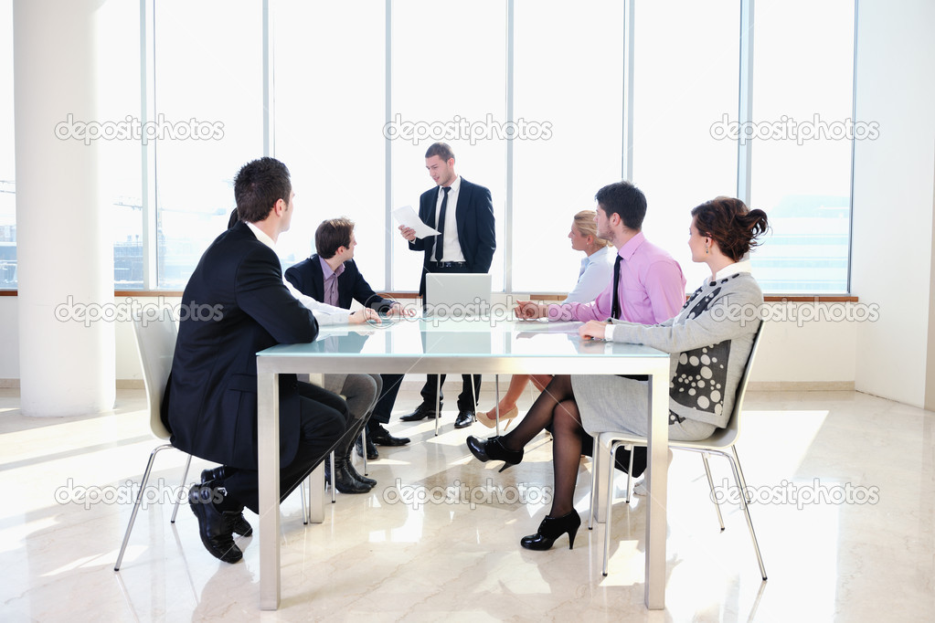 Young business group have  meeting at conference room and have discusion  about new ideas  plans and problems — Stock Photo #5291451