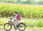 Schoolgirl traveling to school on bicycle — Stock Photo