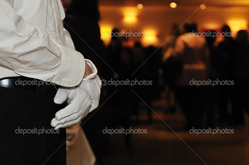 Coctail and banquet catering party event at beautiful hotel restaurant on night — Stock Photo #5363799