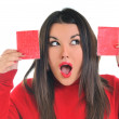 Young business woman hold smal red pape — Stock Photo