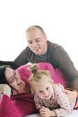 счастливая молодая семья вместе — Стоковое фото
