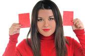 Jonge zakenvrouw houden smal rode pape — Stockfoto