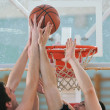 Basketball duel — Stock fotografie