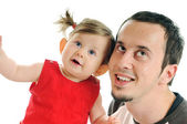 Young father play with beautiful daughter — Stock Photo