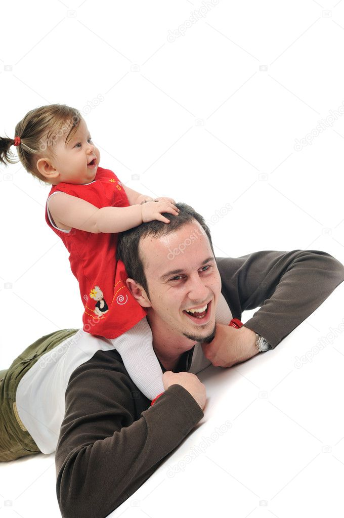 Young male man parent play with beautiful little baby — Stock Photo #5385391