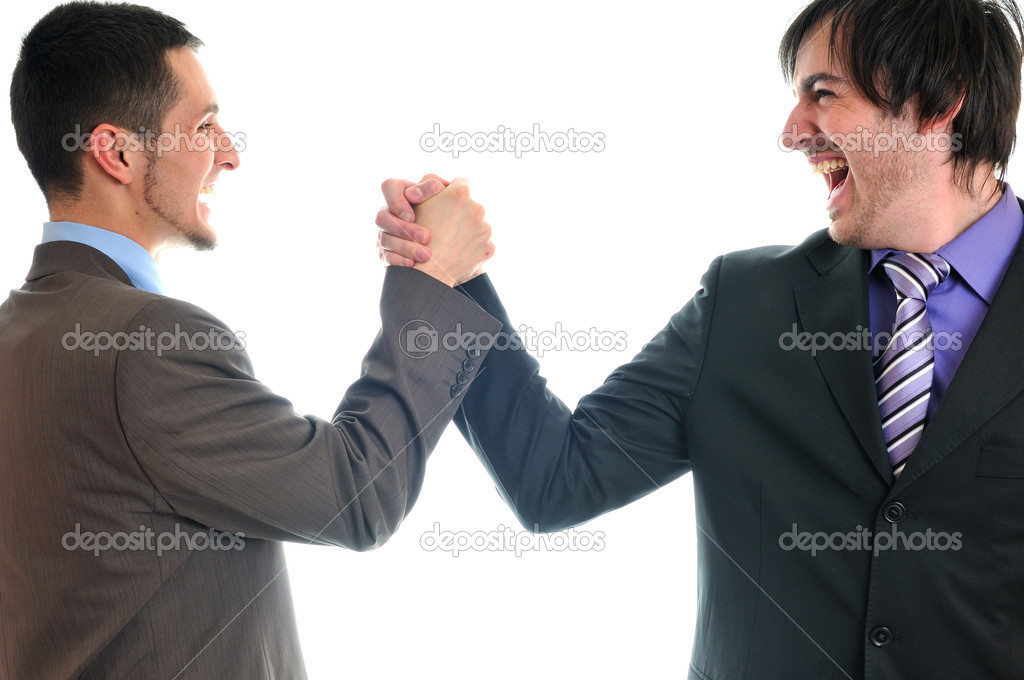 Young business man isolated on white hand shake  Stock Photo #5385772
