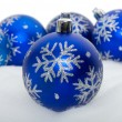 Blue balls with snowflakes — Stock Photo #4060095