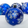 Blue balls with snowflakes — Stock Photo