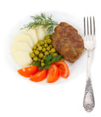Schnitzel with vegetables — Stock Photo
