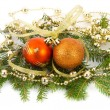Christmas decorations on fir branches — Stock Photo