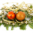 Stock Photo: Christmas decorations on fir branches